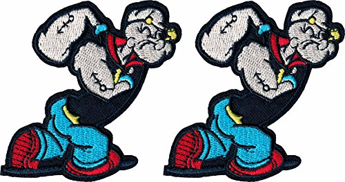 popeye-iron-on-patch-lot-of-2-pieces-applique-embroidered-sailor-man-motif-fabric-decal-3-x-28-inche