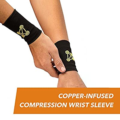CopperJoint – Copper-Infused Compression Wrist Sleeve, Ergonomic Design Supports Improved Circulation to Help Relieve Stiff, Sore Muscles, Pair