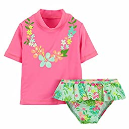 Carters Infant Girls Pink Swimming Suit Hawaiian Rash Guard Cover Up Swim 18m