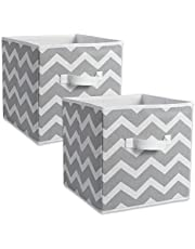 """DII CAMZ38454 Fabric Storage Bins for Nursery, Containers Are Made To Fit Standard Cube Organizers (13x13x13"""") Chevron Grey, Set of 2"""