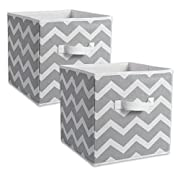 DII Fabric Storage Bins for Nursery, Offices, & Home Organization, Containers Are Made To Fit Standard Cube Organizers (13x13x13 ) Chevron Grey - Set of 2