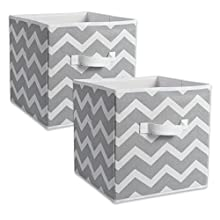 "DII CAMZ38454 Foldable Fabric Storage Containers (Set of 2) Large - 13 x 13 x 13"" Chevron Gray"
