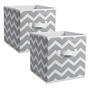 """DII CAMZ38454 Foldable Fabric Storage Containers (Set of 2) Large - 13 x 13 x 13"""" Chevron Gray"""