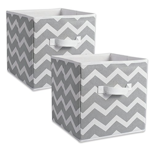 DII CAMZ38454 Foldable Fabric Storage Containers (Set of 2), Large, Gray