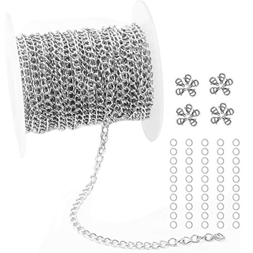Cable Link Chain Necklace - Tiparts 33FT Silver Cable Chains Stainless Steel Extender Chains Link Necklace Bulk for Jewelry Making with 20 Lobster Clasps and 50 Jump Rings (Silver, 3mm)