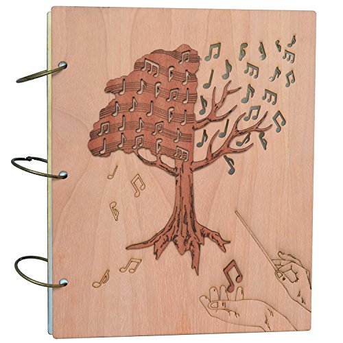 PETAFLOP A4 and Letter Size Expanding File Folders Music Notes Design Wood Carved Cover Document Organizer, 48 Pockets - Music Sheet Cover