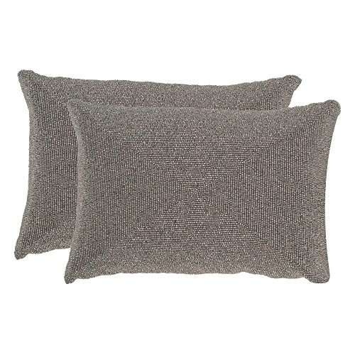 Safavieh Pillow Collection 12 by 18-Inch, Allure Silver Light Throw Pillows (Set of (Beaded Throw Pillow)