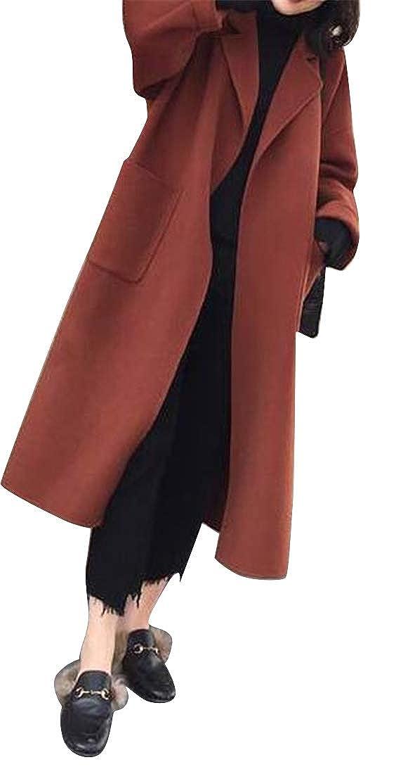 YYG Womens Belted Autumn Winter Split Wool Blend Pea Coat Trench Jacket Overcoat
