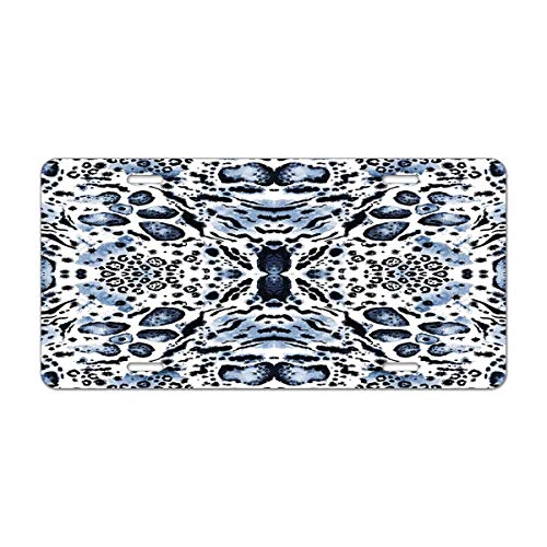 Mugod Blue Geometric Animal Aluminum License Plate Watercolour Leopard Spots and Tiger Stripes Kaleidoscope Pattern Decorative Car License Plate Cover with 4 Holes Car Tags 6