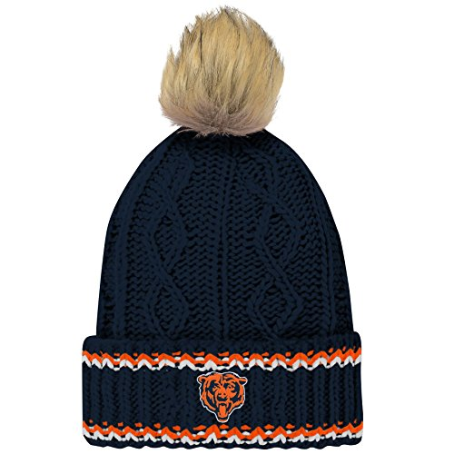 Outerstuff NFL Chicago Bears Youth Girls Fan-Core Furry Pom Cable Knit Hat Deep Obsidian, Youth Girls One Size 7-21