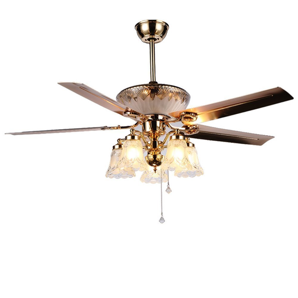 Andersonlight Reversible Ceiling Fan 52 inches 4 Metal Blades 5 Frosted Glass Shade Pull Chains Bronze Finish Multi-Speed High / Medium / Low Mute Energy Saving Home Decoration FS106