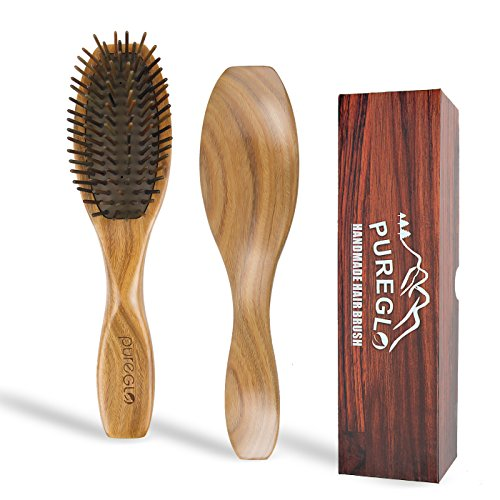 Natural Wooden Hair Brush [Gift Box] - Best Detangling Hairbrush for Curly Wavy Straight Dry Wet Oily Thick or Fine Hair, Reduce Frizz and Breakage for Women Men and Kids, - Case Hair Brush