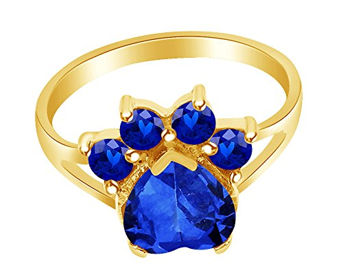 Wishrocks Heart & Round Cut Simulated Blue Sapphire Paw Print Ring in 14K Yellow Gold Over Sterling Silver