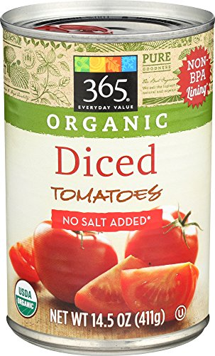 - 365 Everyday Value, Organic Diced Tomatoes No Salt Added, 14.5 Ounce