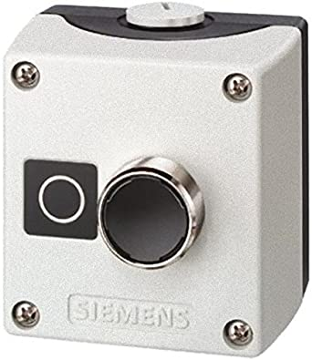 """Siemens 3SB38 01-2DB3 Standard Operator Enclosure and Pushbutton, Metal Enclosure, 1 Pilot Device, Red, """"O"""" Label, 1 NC Contact Block Function"""