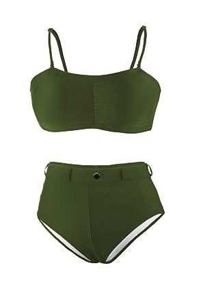 965c048a5929a Pink Queen Women s Bandeau Thong High Waist Bikini Set Swimming Suit Army  Green S