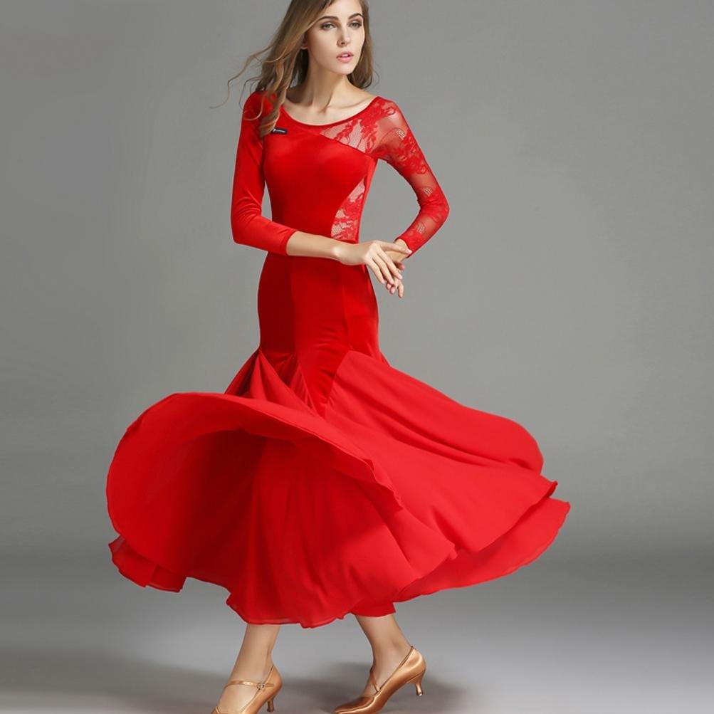 Frauen National Standard-Tanz Wettbewerb Kleider Schnüren Samt Samt Samt Spleißen Walzer Moderne Tanzkleidung Für Leistung B078YS5GJ2 Bekleidung Große Auswahl 114754