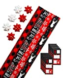 American Greetings Christmas Bulk Gift Wrapping Paper Set with Gridlines and Bows and Gift Tags; Red, Black and White, Plaid, Script, Reindeer and Snowflakes