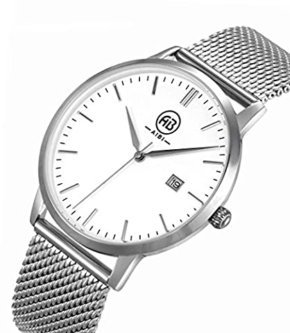 AIBI Men's AB51103-1 Stainless Steel White Face Waterproof Mesh Band Watch