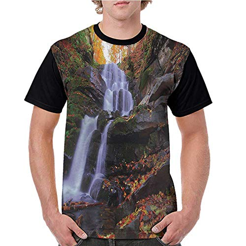 Men's Tops Blouses,Outdoor,Mountain Waterfall Autumnal Forest Fallen Leaves Moss Cascade Serene View,Orange Green Brown S-XXL Tee Tshirts Men