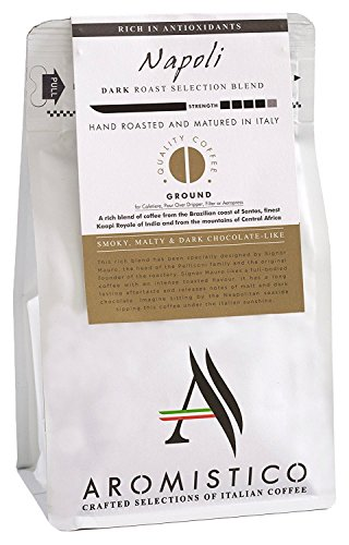 AROMISTICO | Rich Strong Gourmet Dark Roast | Premium Italian GROUND COFFEE | NAPOLI BLEND | For Cafetiere/French Press, Filter, Pour Over, Drip, Moka Pot or Aeropress | SMOKY, MALTY and DARK CHOCOL
