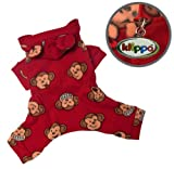 Adorable Silly Monkey Fleece Dog Pajamas / Bodysuit with Hood Size: Medium, Color: Burgundy, My Pet Supplies