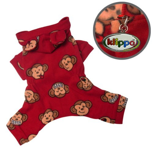 Adorable Silly Monkey Fleece Dog Pajamas / Bodysuit with Hood Size: Medium, Color: Burgundy, My Pet Supplies