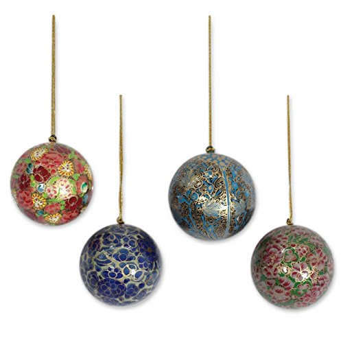 (NOVICA Decorative Floral Mughal Celebration' (Set of 4) Papier Mache Ornaments)