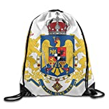 HIFUN Romania Coat Of Arms Unisex Home Gym Sack Bag Travel Drawstring Backpack Bag
