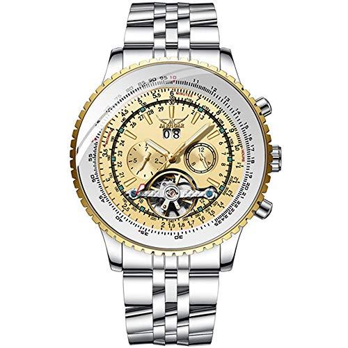 BATINY Mens Automatic Watch Mechanical Tourbillon Big Dial Calendar Wristwatch Golden Skeleton Watch Mens Stylish Wrist…