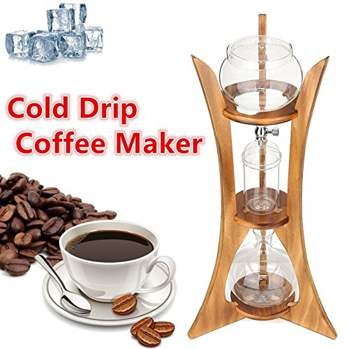 Kitz Coffee Pots Cold Drip Ice Syphon Coffee Pot Maker with Filter Paper Wood Frame