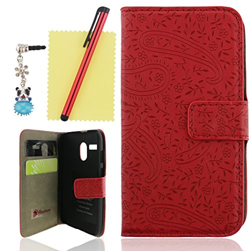 Ancerson New Fashion Stylish Elegant Flower Leaf Pattern Magnet Buckle Built-in Credit/ ID Card Wallet Slots Ultra Slim PU Leather Protective Flip Folio Stand Case for Motorola Moto G X1032 Free with a Red Stylus Touchscreen Pen, a 3.5mm Universal Crystal Diamond Rhinestones Bling Lovely Blue Panda Silvery Flower Pendant Dust Plug and a Cleaning Cloth - Retail Package (Red)