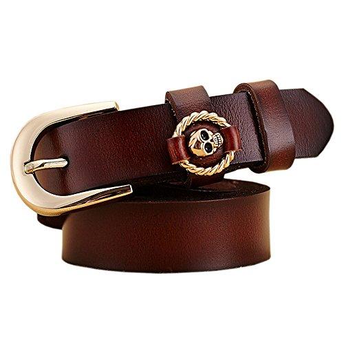 Denim Skull Dress (Boshiho Jeans Belt for Women Cowhide Leather Belt Skull Decor Buckle Dress Belt (Brown))