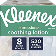 Kleenex Soothing Lotion Facial Tissues with Coconut Oil, Aloe & Vitamin E, 8 Cube Boxes, 65 Tissues Per Bo
