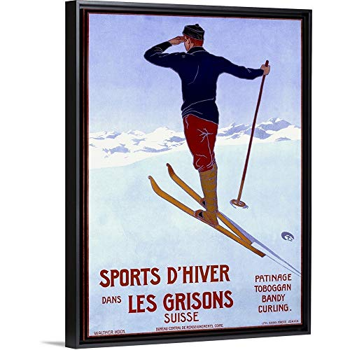 Sports dHiver Dans les Grisons, Vintage Poster, by Walter Koch Black Floating Frame Canvas Art.