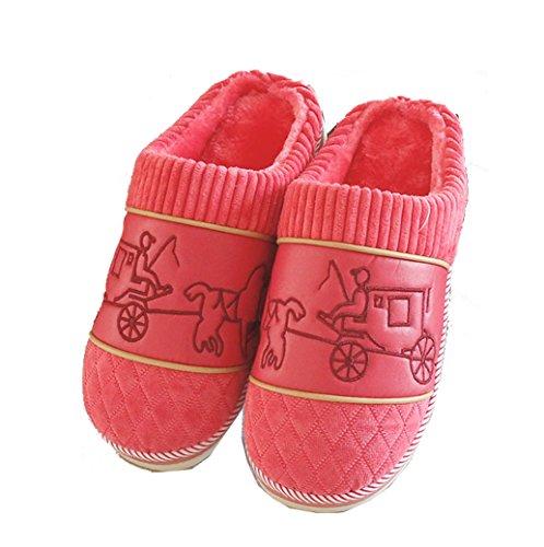 Pantofole Da Casa Modello Classico Morbido Peluche Donna Per Donna Blubi (5,5 M, Rosso)