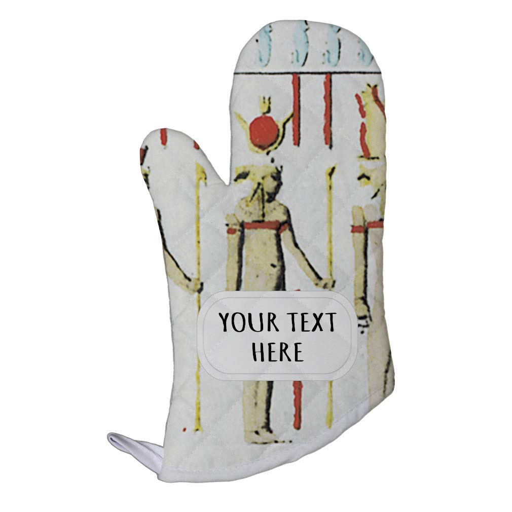 Style In Print Polyester Oven Mitt Custom Egyptian Design 7 Pattern White Brown Adults Kitchen Mittens