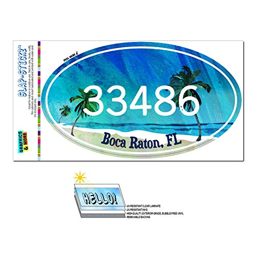 Graphics and More Zip Code 33486 Boca Raton, FL Euro Oval Window Bumper Glossy Laminated Sticker - Tropical - Boca Of Raton Town