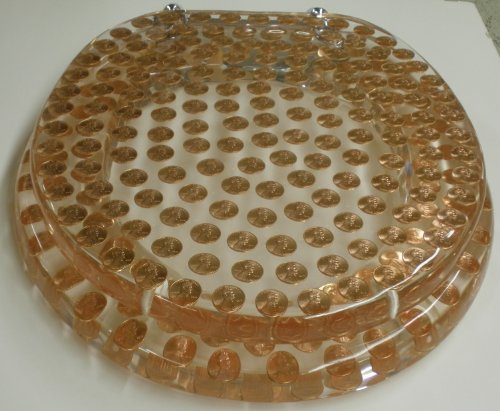 REAL U.S. PENNIES COINS MONEY LUCITE RESIN TOILET SEAT , Elongated Size Penny Toilet Seat (14.5'' x18'') by Centur (Image #2)