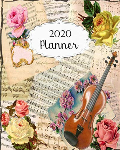2020 Planner: Vintage Daily, Weekly & Monthly Calendars | January through December | #14 Floral Flowers | Music | - Floral Desk Antique Monthly Calendar