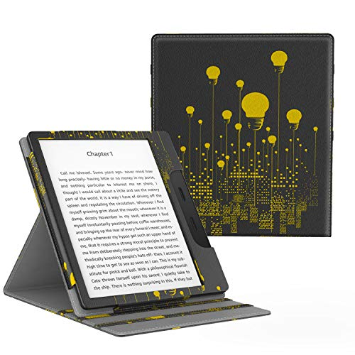 MoKo Case Fits All-New Kindle Oasis (9th and 10th Generation ONLY, 2017 and 2019 Release), Multi Angle Viewing Vertical Flip Cover with Auto Wake/Sleep - City Night View