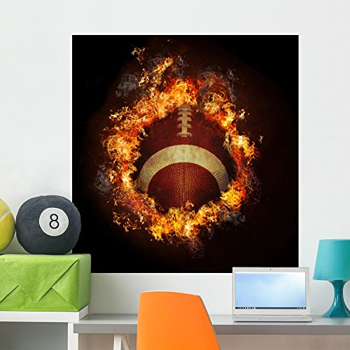 Wallmonkeys Football in Hot Fire Flames Wall Decal Peel and Stick Graphic WM135760 (36 in H x 36 in W) (Wall Flame Decal)