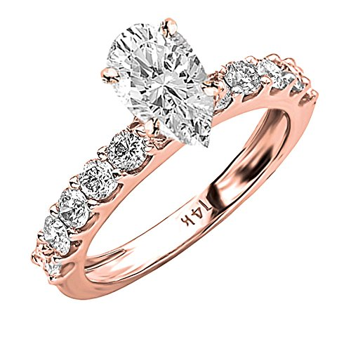 1.64 Ct Pear Diamond (1.64 Carat 14K Rose Gold Classic Side Stone Prong Set Pear Shape Diamond Engagement Ring (H Color SI2 Clarity Center Stones))