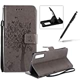Strap Leather Case for Galaxy A9 2018,[Grey Solid Color] Stand Flip Case for Galaxy A9 2018,Herzzer Premium Elegant [Embossed Butterfly Tree Cat Painted] Fold Wallet Folio Smart Case