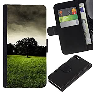 Billetera de Cuero Caso Titular de la tarjeta Carcasa Funda para Apple Iphone 6 4.7 / Dark prairie / STRONG