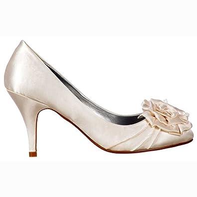 Amazon.com | Onlineshoe Womenu0027s Low Kitten Heel Wedding Shoes Flower And  Pearl Satin Bridal Pump | Pumps