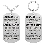 "Pendant Necklace & Keychain Set - Dog Tag Military Stainless Steel Inspirational Jewelry ""Courage Is Not The Absence Of Fear"""
