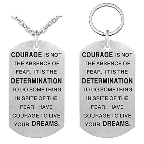 """Pendant Necklace & Keychain Set - Dog Tag Military Stainless Steel Inspirational Jewelry """"Courage Is Not The Absence Of Fear"""""""