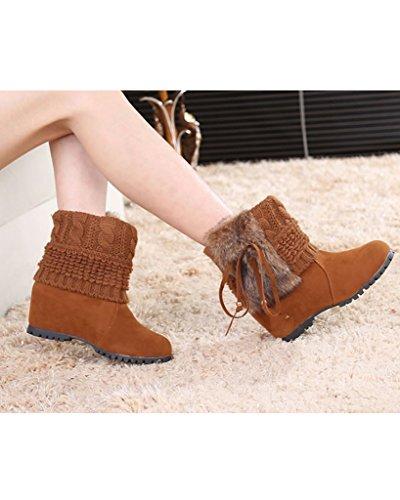 Minetom Damen Winter Mode Stiefeletten Kaninchenfell Wasserdicht Keil Flache Schuhe Warm Schneestiefel Gelb