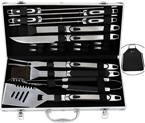ROMANTICIST BBQ Tools Set - 20PCS BBQ Grill Tools Set w/ Non Slip Handle - Heavy Duty Stainless Steel Barbecue Grilling Utensils in Aluminum Storage Case - Premium Grilling Accessories for (Barbecue Utensil)